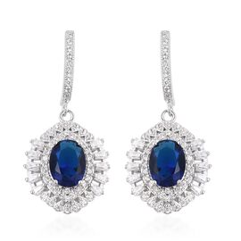 Simulated Blue Sapphire and Simulated Diamond Drop Halo Earrings in Silver Tone
