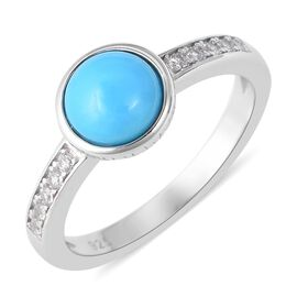 1.35 Ct Arizona Sleeping Beauty Turquoise and Zircon Solitaire Ring in Rhodium Plated Silver
