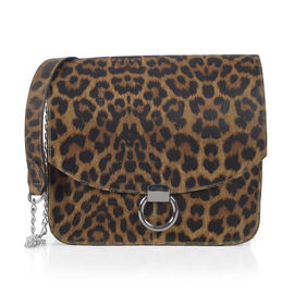 Close Out Deal Super Chic Leopard Print 100% Genuine Leather Handbag (Size 25x25 x8.5 Cm)