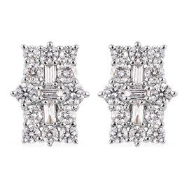 RHAPSODY 950 Platinum IGI Certified Diamond (VS/E-F) Boat Cluster Earrings (with Screw Back) 1.000 C
