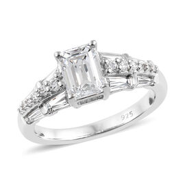 J Francis Made with SWAROVSKI ZIRCONIA Cluster Ring in Platinum Plated Silver