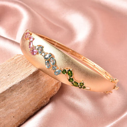 RACHEL GALLEY Sandblast Collection Blue Cambodian Zircon, Pink Sapphire, Russian Diopside & Russian Dendritic Opal Bangle (Size 7.5) in Yellow Gold Overlay Sterling Silver 4.85 Ct, Silver wt 32.75 Gms