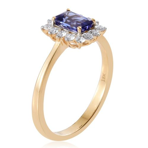 ILIANA 18K Yellow Gold AAA Tanzanite (Oct 1.00 Ct), Diamond Ring 1.350 Ct.