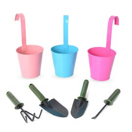 Set of 7 - Garden Tools and Hanging Flower Pot (Size 12.5x28x9 Cm) - Pink, Blue and Rose Pink