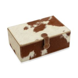 2-Tier White and Camel Brown Natural Leather Jewellery Box with Magnetic Flap Closure (Size 24x14x9