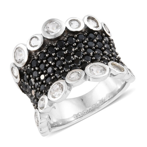 Boi Ploi Black Spinel (Rnd), White Topaz Ring in Platinum Overlay With Black Plating Sterling Silver