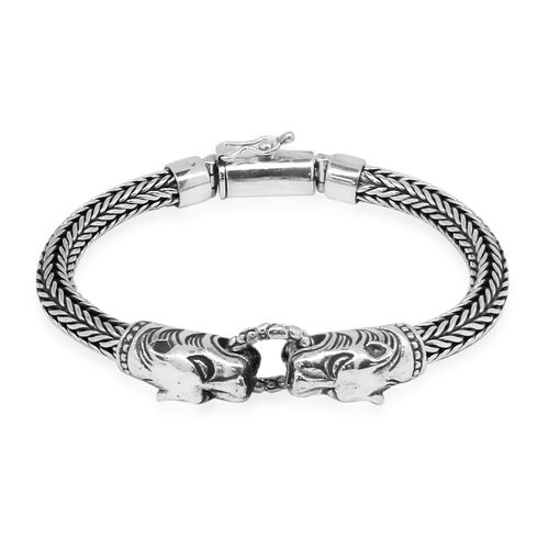 Royal Bali Collection Sterling Silver Panther Head with Tulang Naga Bracelet (Size 8), Silver wt 57.00 Gms.