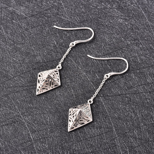 Isabella Liu Sea Rhyme Collection - Ratanakiri Blue Zircon Pyramid Shape Hook Earrings in Rhodium Overlay Sterling Silver 0.63 Ct.