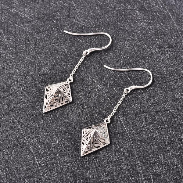 Isabella Liu Sea Rhyme Collection - Ratanakiri Blue Zircon Pyramid Shape Hook Earrings in Rhodium Overlay Sterling Silver 0.63 Ct.