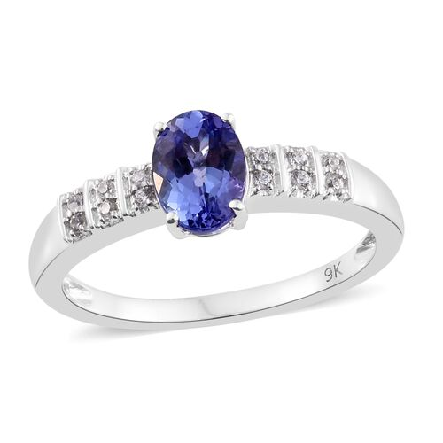 9K White Gold 1.10 Ct AA Tanzanite Ring with Natural Cambodian Zircon