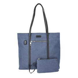 Multi Purpose Zipper Closure Large Tote Bag (40x13x35cm) with Wristlet (20x12cm) and Power Bank - Na