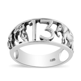 Sterling Silver Good Luck Signs Band Ring