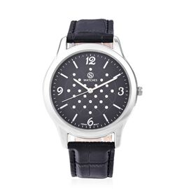 STRADA Japanese Movement Austrian White Crystal (Rnd) Water Resistant Watch in Silver Tone - Black