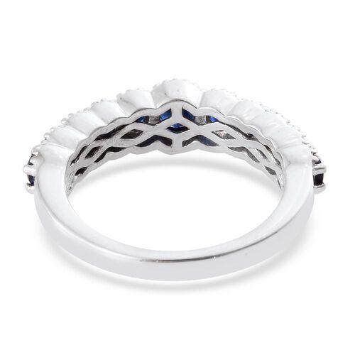 WEBEX- Kanchanaburi Blue Sapphire (1.25 Ct) Platinum Overlay Sterling Silver Ring  1.250  Ct.