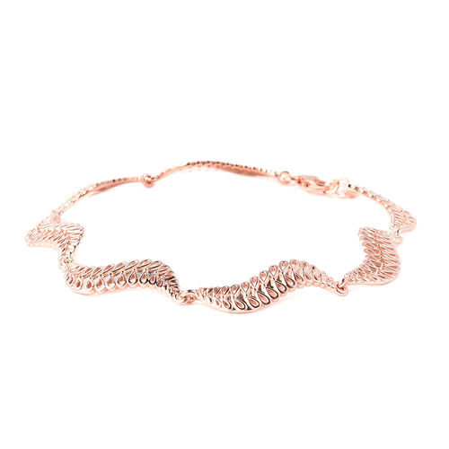 LucyQ Wave Bracelet (Size 8) in Rose Gold Overlay Sterling Silver