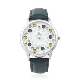 STRADA Japanese Movement Water Resistant White and Green Colour Austrian Crystal Studded Watch with