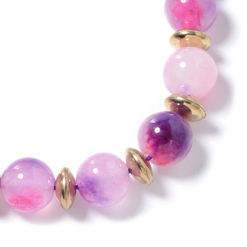 Purple and Fuschia Quartzite (Rnd) and Multi Colour Beads Adjustable Bracelet (Size 6.5 to 9.5) 150.000 Ct
