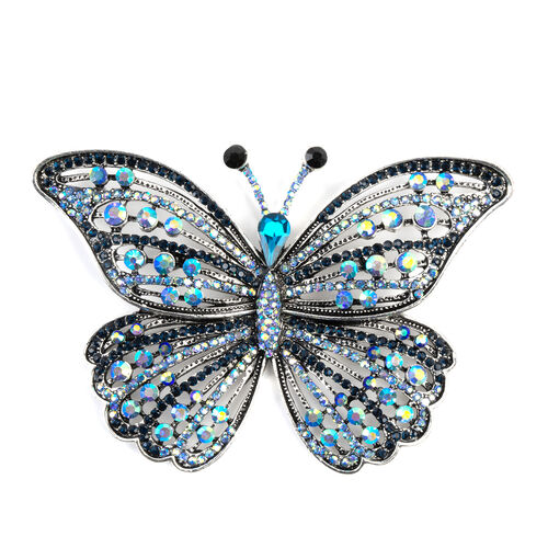 Multi Colour Austrian Crystal (Rnd), Simulated Blue Sapphire Butterfly Brooch in Silver Tone