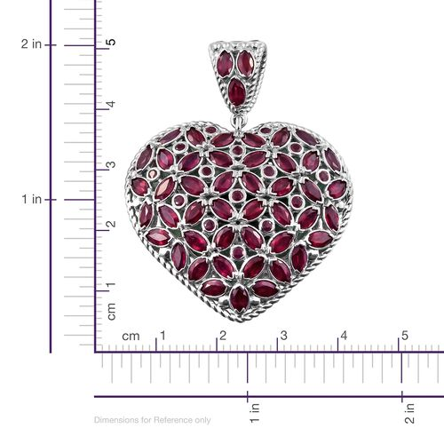 African Ruby (Mrq), Kagem Zambian Emerald Reversible Pendant in Platinum Overlay Sterling Silver 17.250 Ct.