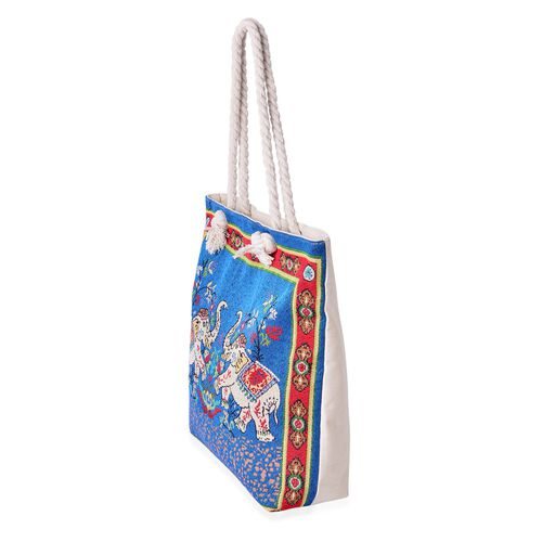 Designer Inspired-Blue with Multi Colour Elephant Pattern Tote Bag (Size 44x39x33x9.5 Cm)