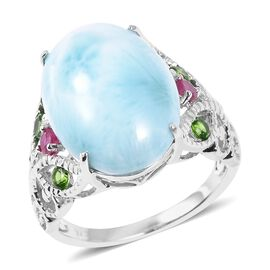 Larimar (Ovl 18x13 mm), Russian Diopside and African Ruby Ring in Rhodium Overlay Sterling Silver 12.000 Ct.