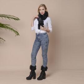 2 Piece Set - Faux Fur Collar Scarf (Size 96x14.5cm) and Boot Cuffs (Size 16.5x14.5cm) - Black