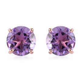 Rose De France Amethyst Stud Earrings (with Push Back) in Rose Gold Overlay Sterling Silver 3.50 Ct.