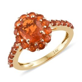 New York Close Out- 14K Yellow Gold AAA Jalisco Fire Opal (Ovl 8x6 mm) Ring (Size T) 1.500 Ct.