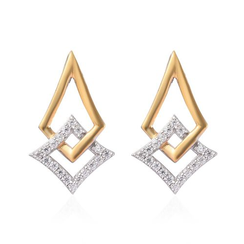 Natural Cambodian Zircon Earrings (with Push Back) in Platinum and Yellow Gold Overlay Sterling Silv