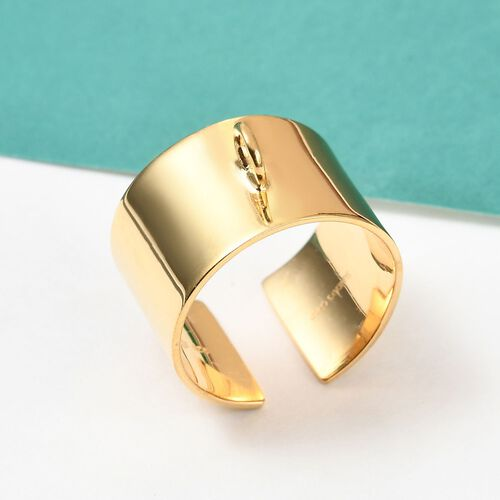 Sundays Child - Yellow Gold Overlay Sterling Silver Open Band Charm Ring