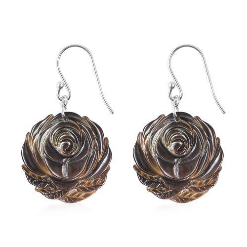 Carved Black Mother of Pearl Rose Hook Earrings in Rhodium Overlay Sterling Silver