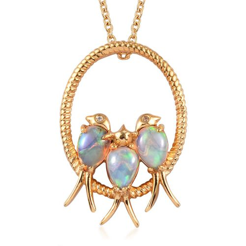 Ethiopian Welo Opal (Pear), Natural Cambodian Zircon Birds and Circle Pendant With Chain in 14K Gold