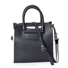 100% Genuine Leather Tote Bag (Size 24x11.5x22 Cm) with Detachable Shoulder Strap - Black and White