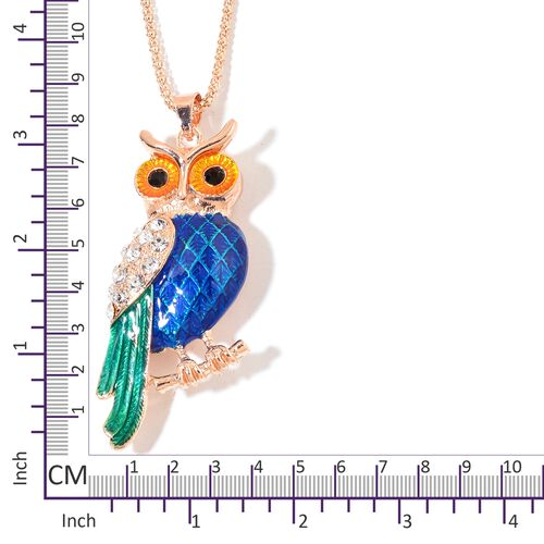 AAA White and Black Austrian Crystal Multi Colour Enameled Owl Pendant with Chain (Size 28) in Rose Gold Tone