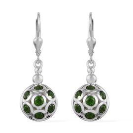 GP - Russian Diopside and Blue Sapphire Drop Lever Back Earrings in Platinum Overlay Sterling Silver