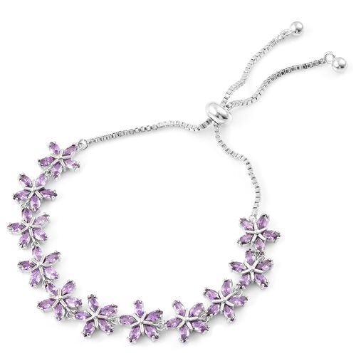 AAA Simulated Amethyst Adjustable Floral Bracelet (Size 6.5-9) in Silver Tone