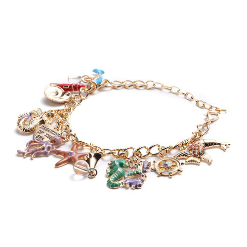 Charms De Memoire - Simulated White Topaz and Multi Colour Austrian Crystal Multi-Charm Enamelled Curb Bracelet (Size 7.5 with 1.5 inch Extender) in Gold Tone