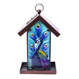 Garden Theme Handmade Solar Lantern Bird Feeder (Size 18x14x33cm) - Peacock