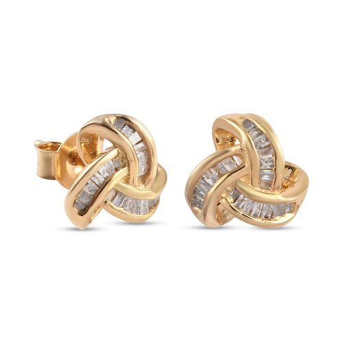 Diamond Triple Knot Earrings (with Push Back)  in 14K Gold Overlay Sterling Silver 0.25 Ct.