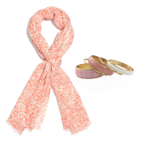 Pink Colour Mosaic Printed Scarf (Size 180x70 Cm) with Matching Set of 5 Bangles (Size 8) in Gold Tone