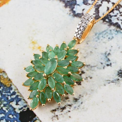 Kagem Zambian Emerald (Mrq) Cluster Pendant With Chain in 14K Gold Overlay Sterling Silver 3.000 Ct.