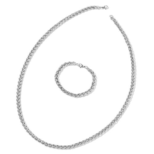 Spiga Necklace (Size 30) and Bracelet (Size 8.50) in Stainless Steel