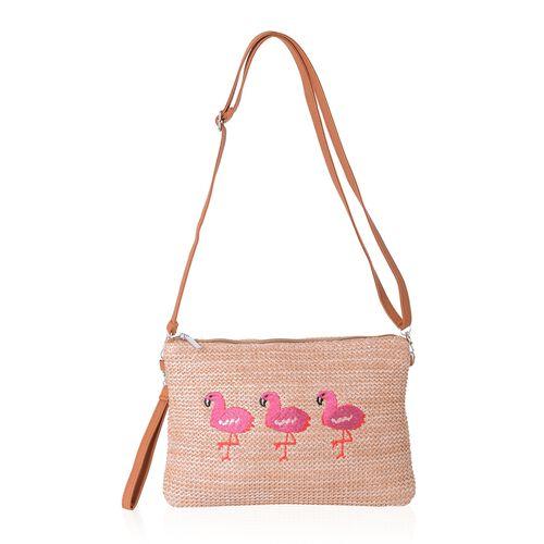 Light Coffee, Pink and Orange Colour Flamingo Pattern Crossbody Bag (Size 29x20x14.5 Cm)