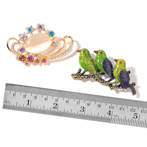 Set of 2 - Simulated White Cats Eye and Multi Colour Austrian Crystal Birds Family and Nest with Egg Brooch in Yellow Gold Tone