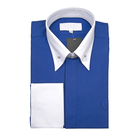 William Hunt Saville Row Forward Point Collar Blue and White Shirt Size 16