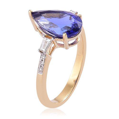 ILIANA 18K Yellow Gold AAA Tanzanite (Pear 3.75 Ct), Diamond Ring 4.000 Ct.