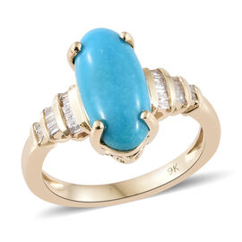 3 Carat AAA Sleeping Beauty Turquoise and Diamond Solitaire Design Ring in 9K Gold 3.14 Grams