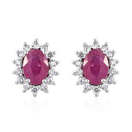 RHAPSODY AAAA Burmese Ruby (Ovl 7x5 mm), Diamond Earrings (with Push Back) 2.500 Ct.