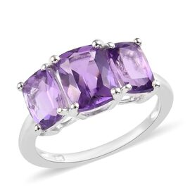 Amethyst (Cush) Three Stone Ring (Size N) in Sterling Silver 3.00 Ct.