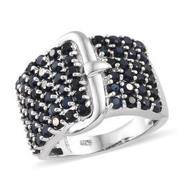 2.75 Ct Kanchanaburi Blue Sapphire Buckle Design Cluster Ring in Platinum Plated Silver 6.61 Grams